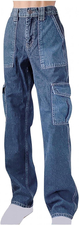 Larisalt Jeans for Women High Waist Straight, Women Baggy Boyfriends Jeans Solid Color Wide Leg Straight Denim Pants
