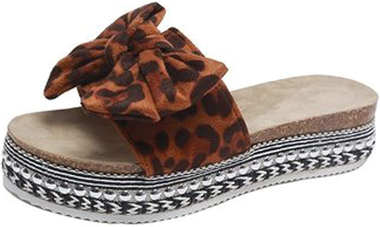 SUNYUAN Bow Tie Slip On Flat Slide Sandals for Women Open Toe Sandals Bowknot Ornament Flatform Beach Summer Travel Shoes