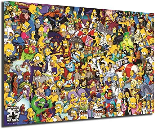 Simpsons All Characters Cartoon Poster Anime Poster Painting Wall Art Home Decor Wall Art Oil Painting Art Supplies Canvas Wall Art Wall Decor Gallery Wall Decor Painting Canvas Bedroom Decor Living Room Decor (Unframed-No Framed,8x12inch)