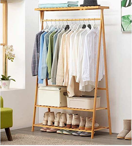 ASfairy Home Bamboo Garment Coat Clothes Hanging Heavy Duty Rack With Top Shelf And 2 Tier Shoe Clothing Storage Organizer Shelves With Top Shelf Bamboo Coat Clothes Hanging Rack