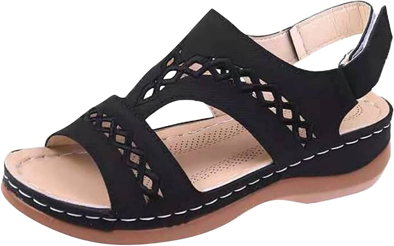 TUSANG Women's Hollow Out Wedges Sandals Slip-On Breathable Indoor Outdoor Travel Shoes