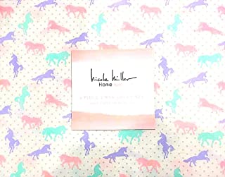 Nicole Miller Pastel Unicorns with Shimmering Polka-Dots Twin Size Cotton Sheet Set