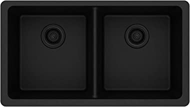 Elkay Quartz Classic ELGU3322BK0 Equal Double Bowl Undermount Sink, Black