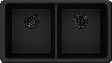 Elkay Quartz Classic ELGU3322BK0 Equal Double Bowl Undermount Sink, Black