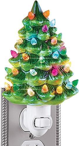 "2021 Ceramic Christmas Tree Night Light - high quality 6""H, Nostalgic, Decorative Bathroom Decoration, outlet sale Green sale"