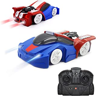 QUN FENG Remote Control Car RC Cars Dual Mode 360°Rotating Wall Climbing Toys for Boys Gift (Blue)