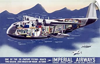 CANVAS ON DEMAND Imperial Airways, Flying Boat, Vintage Poster Wall Peel Art Print, 36