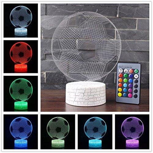 etbotu 3d de fútbol multicolor Noche Lámpara Touch interruptor cama Luz Ojo Protección Decoración Regalo Berühren + Fernbedienung Riss