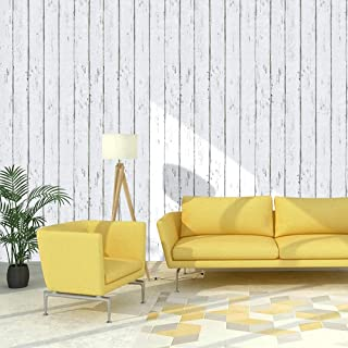 Homeme White Wood Wallpaper, 600 x 45cm Peel and Stick Self-Adhesive Wallpaper with PVC Waterproof Oil-Proof and Removable...