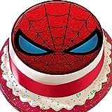 Vorgeschnittener Kuchenaufleger / Tortenaufleger, Design: rot-schwarze Spiderman-Maske, essbare Kuchendekoration
