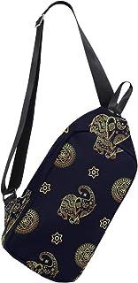 MASSIKOA Gold Elephant Shoulder Backpack Sling Chest Crossbody Bag Travel Hiking Daypack for Men Women