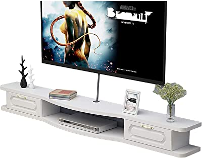 TV Cabinet, TV Lowboard, Floating Shelves, Asymmetrical Wall Mounted TV Console, with 2 Drawers, 100/120/140/160CM Four Color Panel, Wall Mounted Media Console. (Color : B, Size : 140CM)