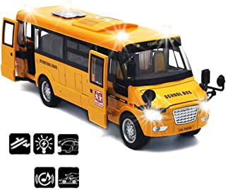 CORPER TOYS School Bus Toy Die Cast Vehicles Yellow Large Alloy Pull Back 9'' Play Bus with Sounds and Lights for Kids