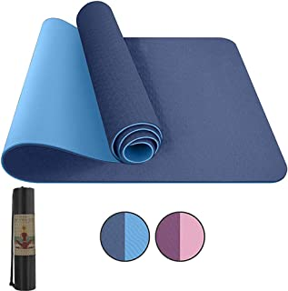 """IDOLL Yoga Mat Exercise Extra Thick Workout Mat, ECO Friendly Non Slip Fitness Pilates Mat with Carrying Bag and Strap for Women Men Home Floor (72"""" Lx24 W 1/4 Inch Thick)"""