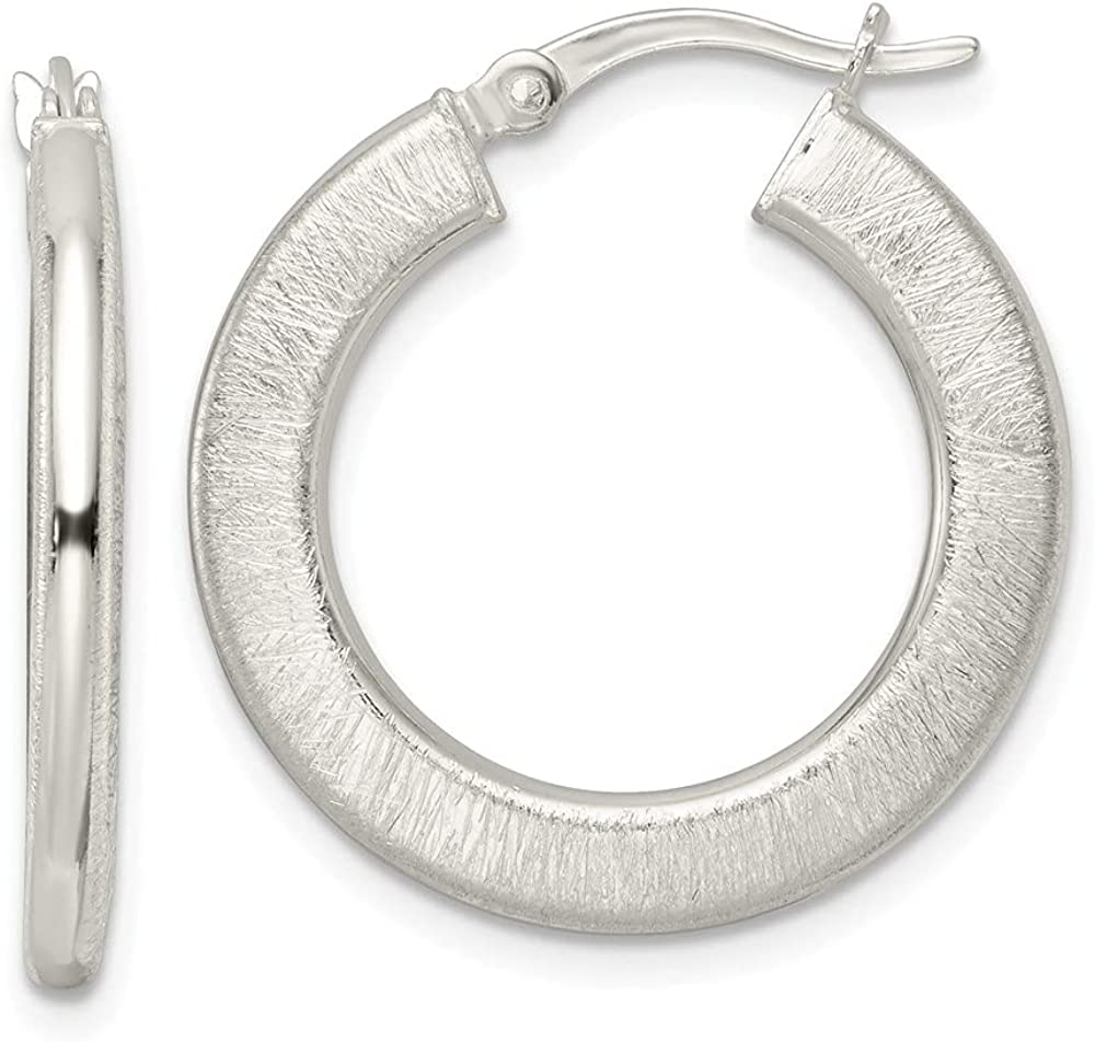 Sterling Virginia Beach Mall Silver Brushed Flat Circle Max 87% OFF Hoop Earrings