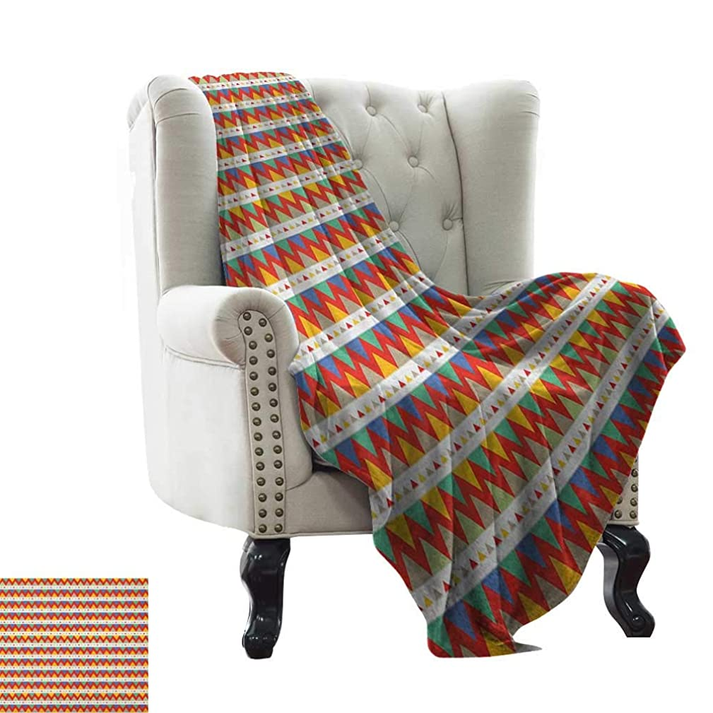 BelleAckerman Wearable Blanket Tribal,Ethnic Chevron Zigzags Pattern with Colorful Triangles and Stripes Hand Drawn Lines, Multicolor Microfiber All Season Blanket for Bed or Couch Multicolor 35