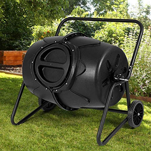 Why Should You Buy Outdoor Garden Patio Lawn Kitchen Food 50 Gallon Wheeled Compost Black Large Waste Bin Rotatable Tumbler Sturdy Iron Safe PP Material Container Turn Waste to Rich Compost Rust-Resistant All-Weather