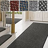 Teppich / Läufer in zahlreichen Größen | anthrazit, gepunktet | Qualitätsprodukt aus Deutschland | GUT Siegel | Küchenläufer, Flurläufer (80x175 cm)