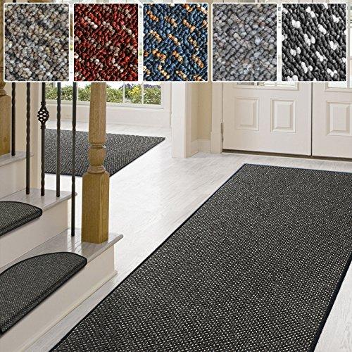 Teppich / Läufer in zahlreichen Größen | anthrazit, gepunktet | Qualitätsprodukt aus Deutschland | GUT Siegel | Küchenläufer, Flurläufer (66x200 cm)