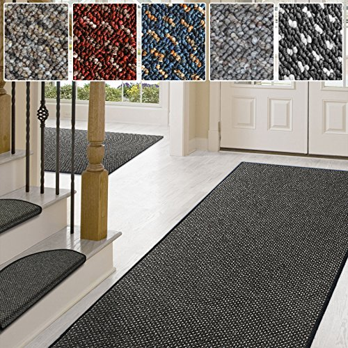 Stufenmatten anthrazit | Qualitätsprodukt aus Deutschland | GUT Siegel | kombinierbar mit Läufer | 65x23,5 cm | halbrund | 15er Set