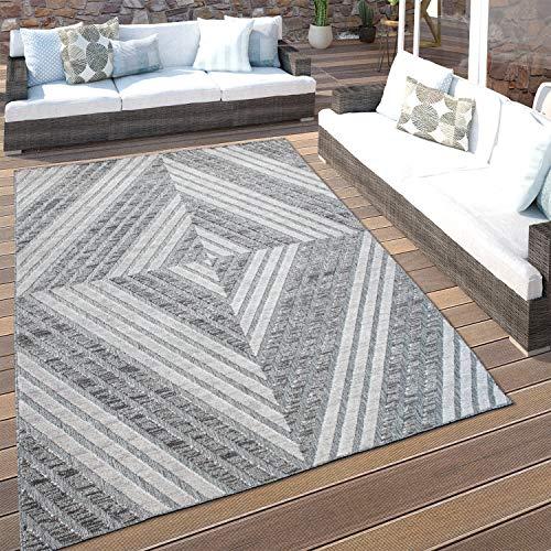 Paco Home In- & Outdoor-Teppich Für Balkon Terrasse, Kurzflor Mit 3-D Rauten-Muster, In Grau, Grösse:80x150 cm