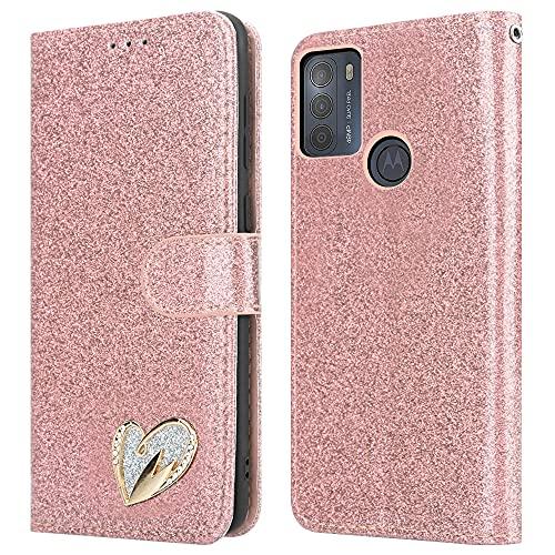 iPEAK Para Motorola Moto G50 Caso (6.5'') Cuero brillante Bling Glitter Libro Flip Stand Card Wallet Funda protectora para Moto G50 Teléfono (Rosegold)