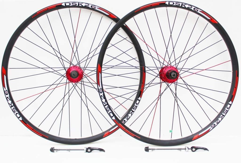 Rueda de 26 pulgadas para bicicleta de montaña roja hubs y calcomanías disco freno sólo ruedas, 7,8,9,10 velocidad de neumático de cassett, Redneck XC doble pared disco sólo llantas (26
