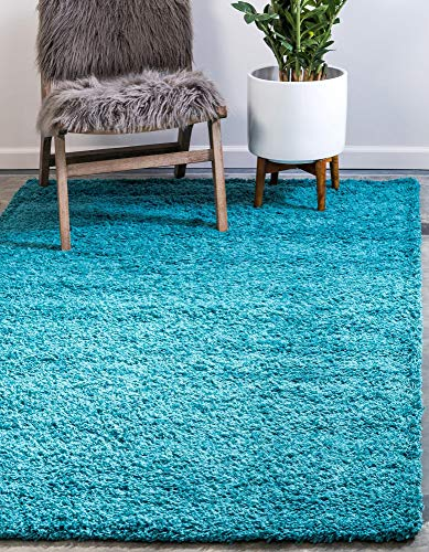 Unique Loom Solo Solid Shag Collection Modern Plush Deep Aqua Blue Rectangle (3' x 5')