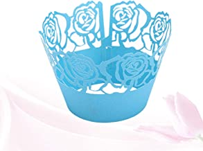 TOYANDONA 50pcs Wrappers Laser Cut Creative Delicate Lovely Rose Cake Edge Cups Cupcake Wrapper for Wedding Birthday Party Decoration Baking Blue