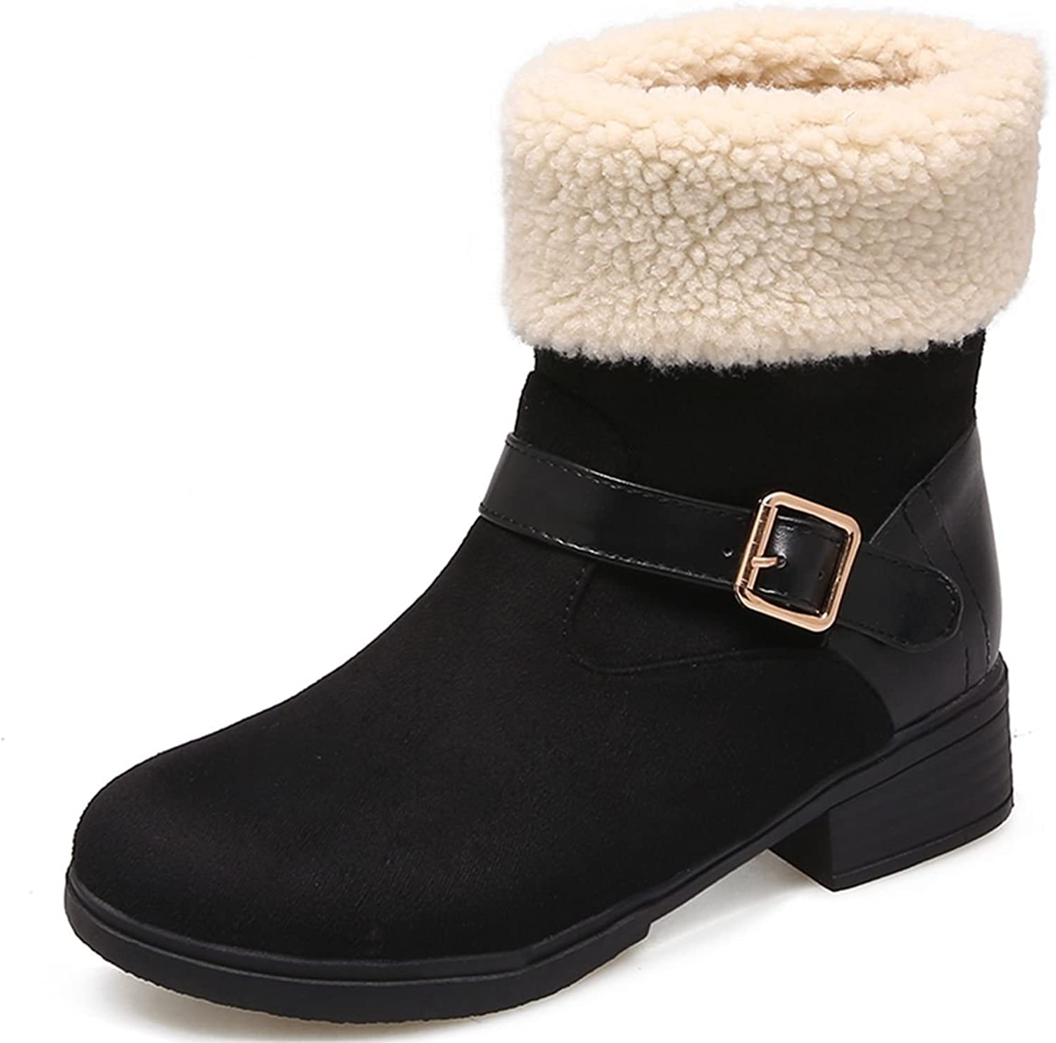 DoraTasia Women's Synthetic Faux Fur Low Heel Buckle Strap Ankle Snow Boots