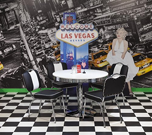wendland-moebel.de Hausmarke Bistrogruppe American Diner Paul King2 5tlg in schwarz weiß