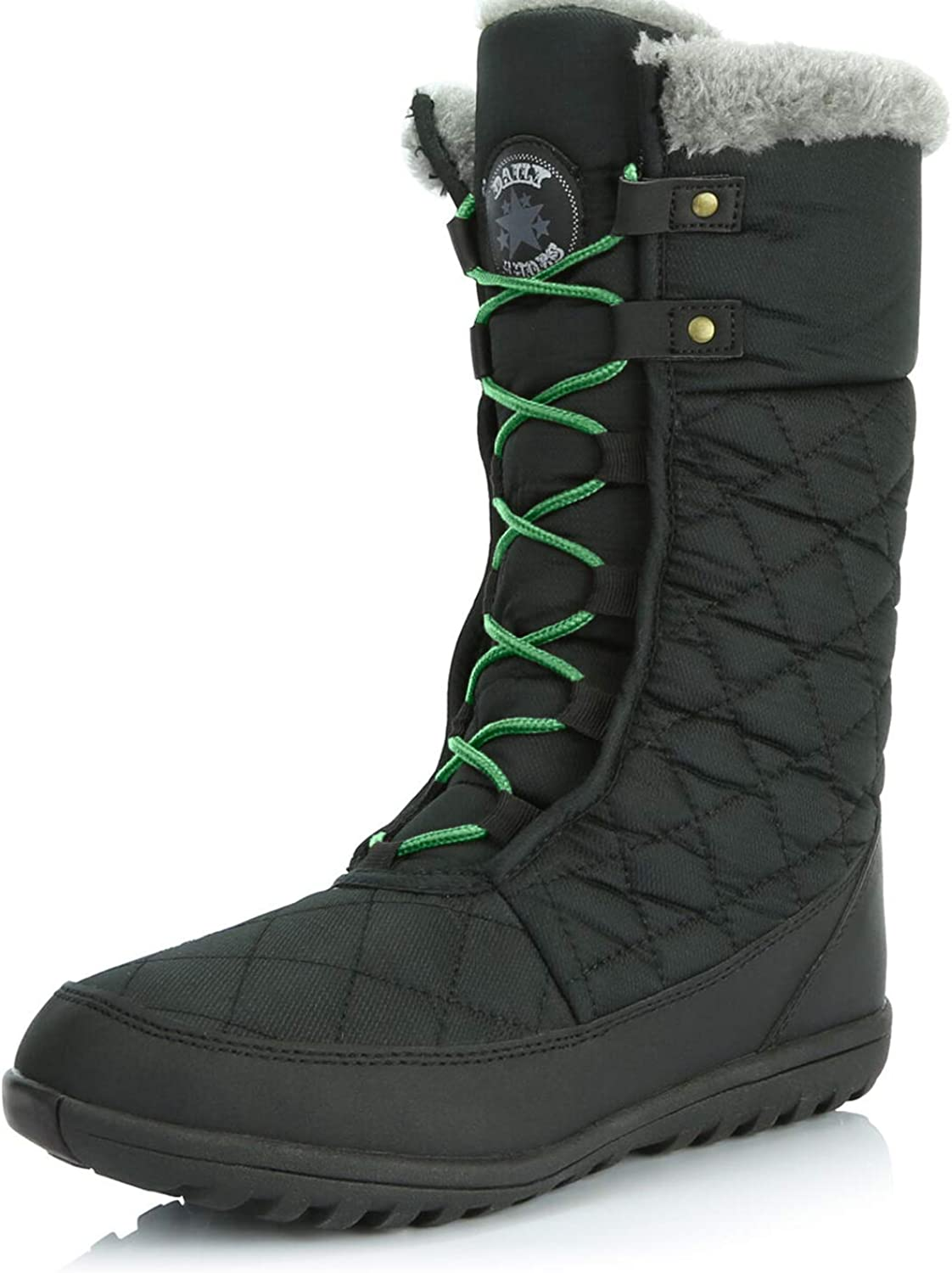DailyShoes Women's Comfort Round Toe Mid Calf Flat Ankle High Eskimo Winter Fur Snow Boots, Green