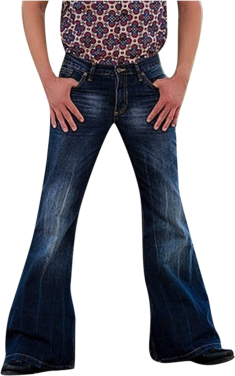 Men's Vintage Stretch Bottom Fit Classic Relaxed Flared Retro Disco Denim Jeans