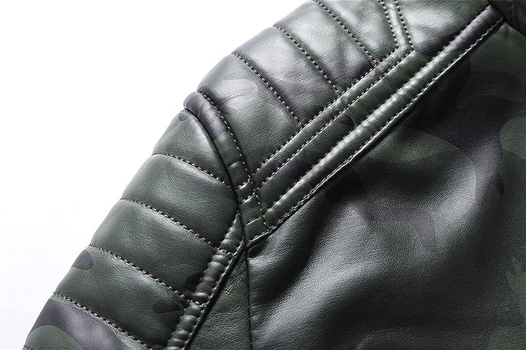 Men Winter Fleece Motorcycle PU Leahter Jacket Camouflage Military Stand Collar Windbreaker Slim Coat