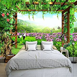 TIANXINBZ Custom Mural Wallpaper Grape Trellis Butterfly Flowers Pastoral Scenery Living Room Sofa Bedroom Backdrop Wall P...