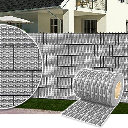 Plantiflex Sichtschutz Rolle 35m Blickdicht PVC Zaunfolie Windschutz für Doppelstabmatten Zaun (Rattan-Rustikal)