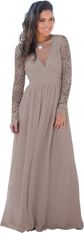 BONOYUER Women's NEW売り切れる前に☆ V Neck Long Dress Sleeve Lace Bridesmaid Chiffo (人気激安)