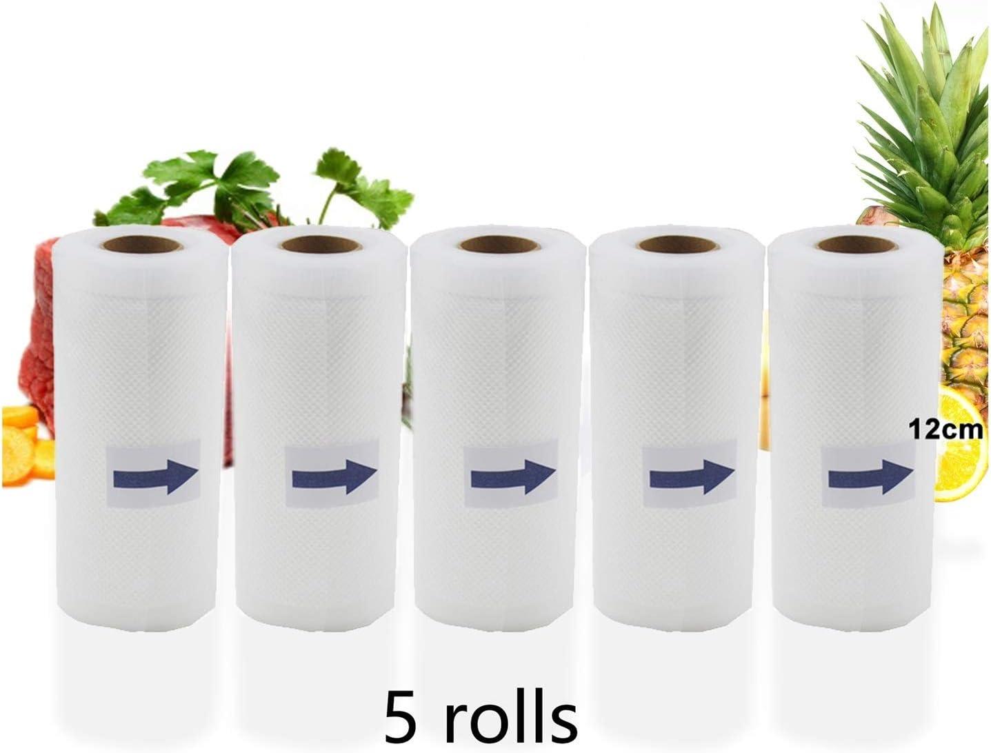 JYSLI par 5 Rouleaux/Lot Cuisine Nourriture Vide Sacs Sac de Rangement for Le Vide Scellant Alimentaire Maintenir Les emballages Coupe (Color : 28cm) 15cm