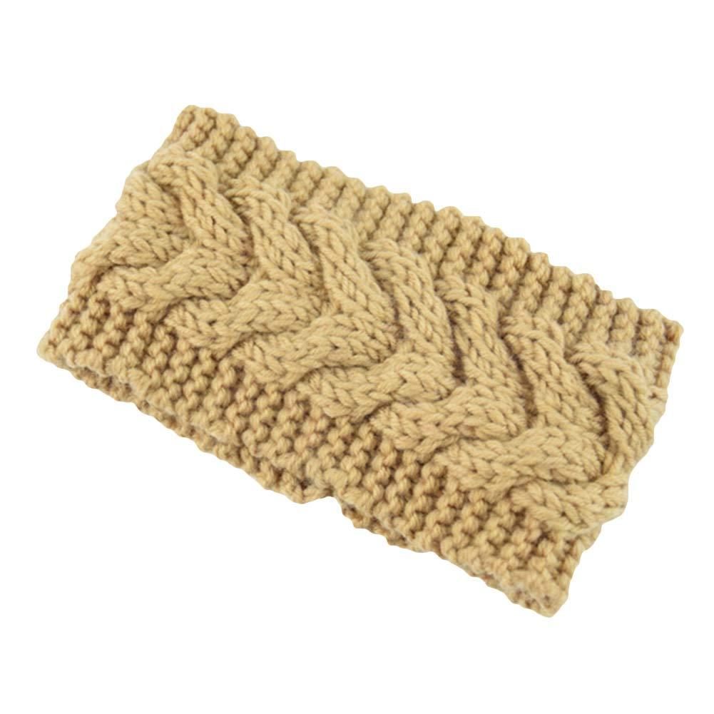 fublousRR5 Headband, Women Knitted Turban Headband Winter Crochet Headwrap Wide Ear Warmer Hairband Camel