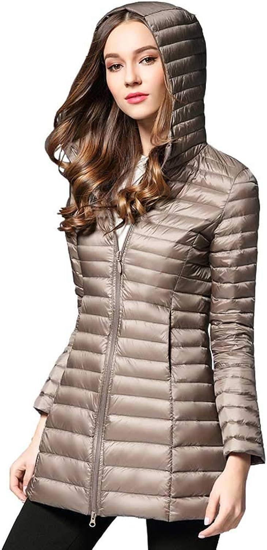 Women's Winter Long Hooded Light Down Jacket, Large Size Modern Casual Korean Jacket