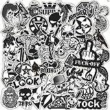 LYDP 50 pegatinas de graffiti para maleta, diseño de guitarra y dibujos animados, color negro y blanco