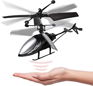 Remote Control Helicopter Flying Toys, Mini Led Rechargeable Hand Operated Drone with LED Light for Kids, Boys Girls Indoo...