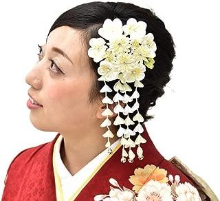 Hitotoki Women's Hair Accessory Comb Kimono Geisha Kanzashi White Japan Mt.Fuji