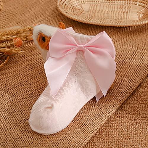 CHANQIDJIKMX Calcetines para Mujer, Algodón Suave Transpirable Calcetines De Verano con Lazo para Bebé Color Sólido Princesa Bebé Niña Calcetines Cortos Antideslizantes 0-5 Años