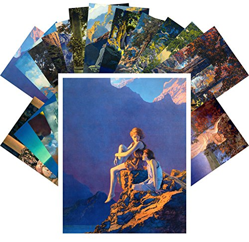 Postcard Set 24pcs Amazing Lanscapes and Beautiful People Vintage Comic Illustration by Maxfield Parrish