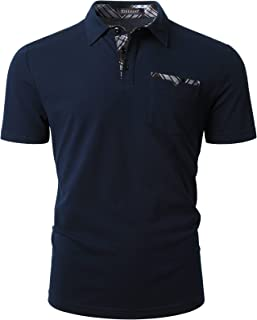 Enlision Men's Polo Shirt Short Sleeve Breathable & Regular Fit Golf Sport Polos with Fashion Plaid Splice Pocket