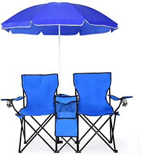 Goplus Double Folding Picnic Chairs w/Umbrella Mini Table Beverage Holder Carrying Bag for Beach Patio Pool Park Outdoor Portable Camping Chair (Blue w/Umbrella)