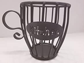 Wrought Iron (Kitchen) Kup Keeper Coffee & Espresso Pod Holder, Coffee Mug Storage Basket - Hand Made By Amish Of Lancaster County PA.