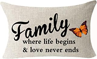 Best Gifts Funny Nordic Sweet Inspirational Sayings Family Where Life Begins And Love Never Ends Cotton Linen Waist Lumbar...
