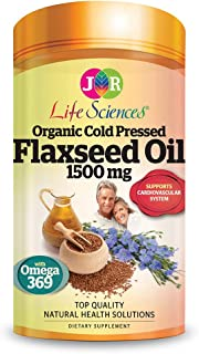 JR Life Sciences High Strength Organic Cold Pressed Flaxseed Oil 1500mg, Softgels, 240ct